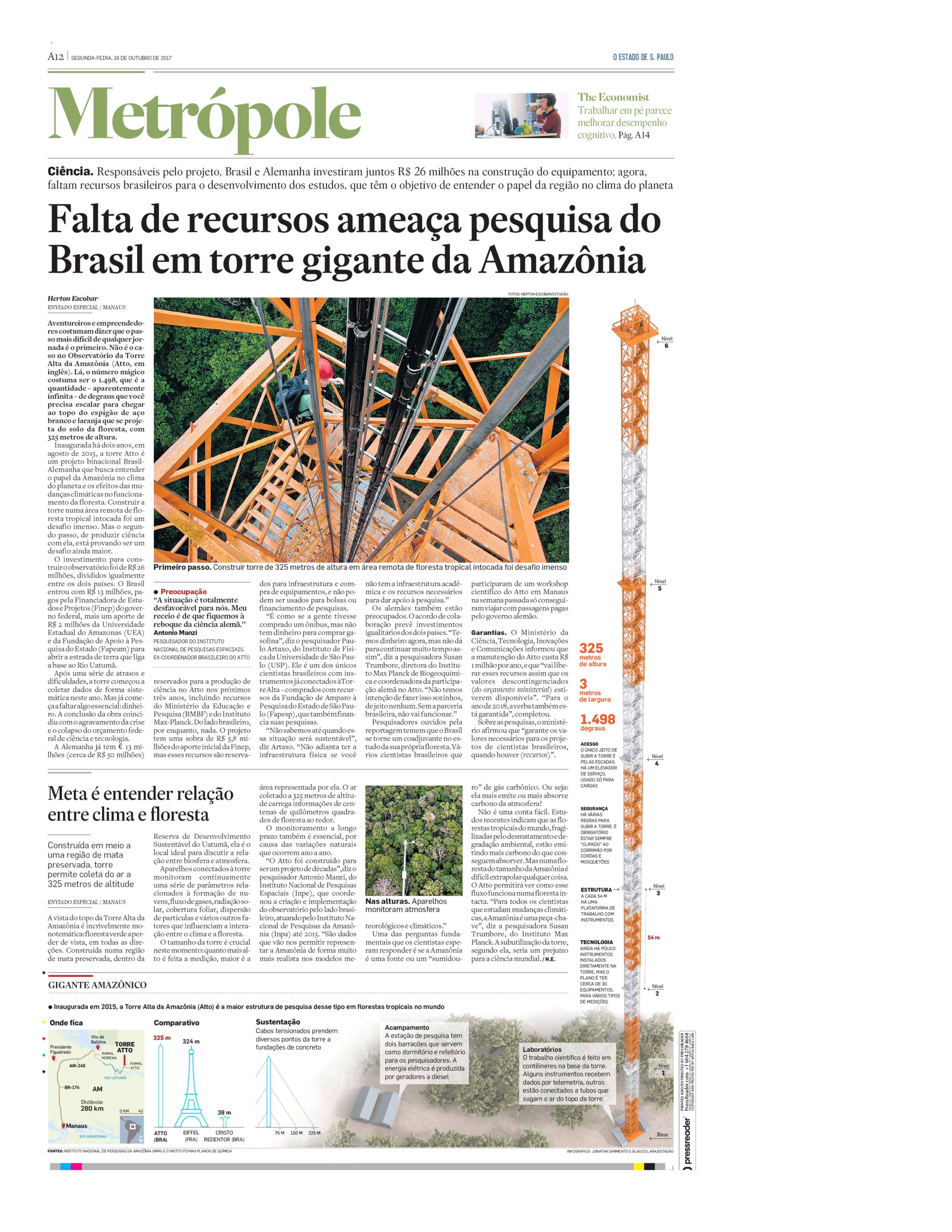 Falta de recursos ameaça pesquisa do Brasil em torre gigante da Amazônia