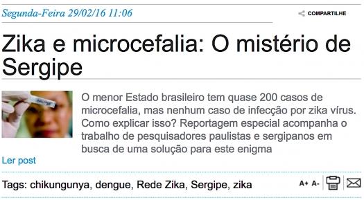 Zika e microcefalia: O mistério de Sergipe