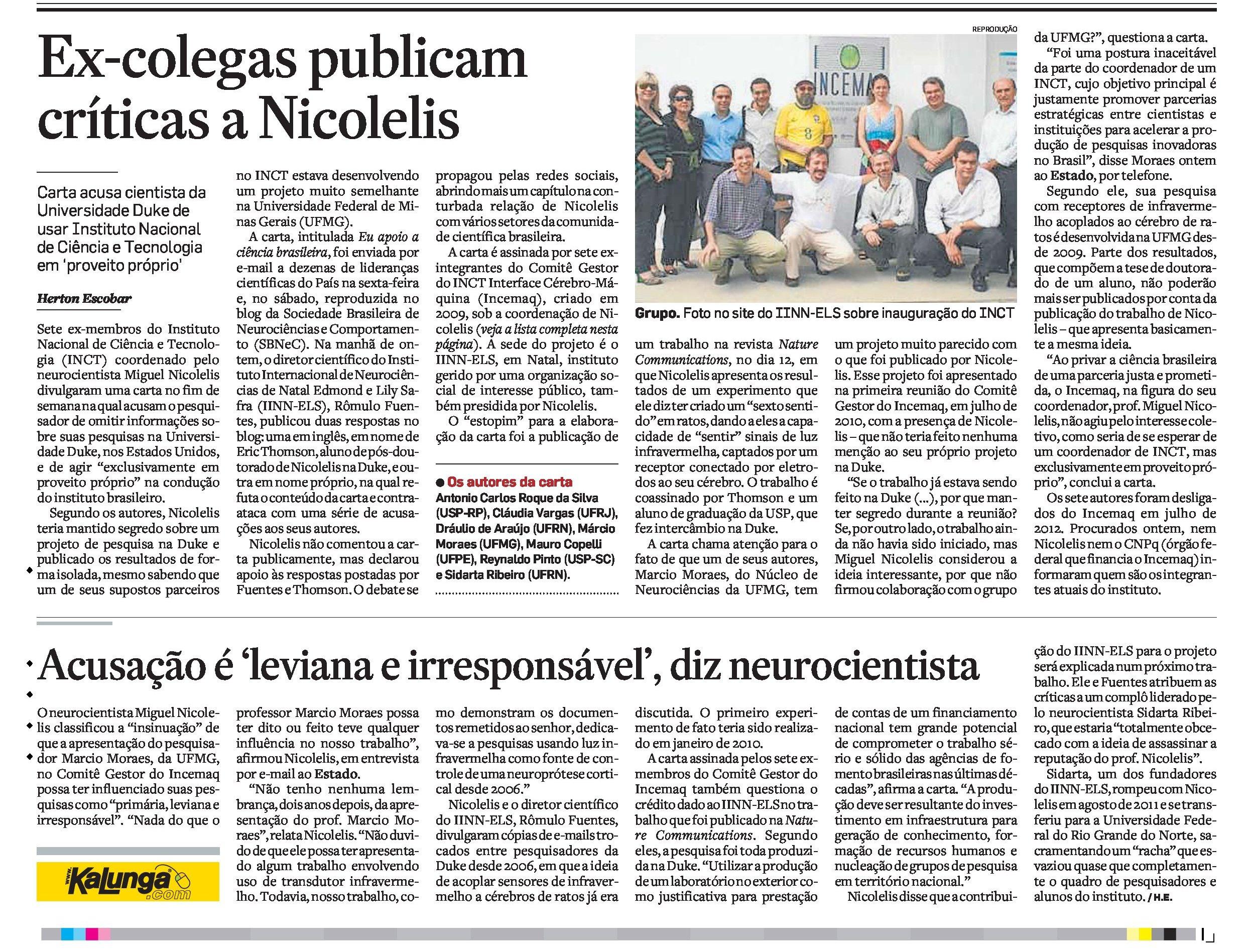 Ex-colegas publicam críticas a Nicolelis