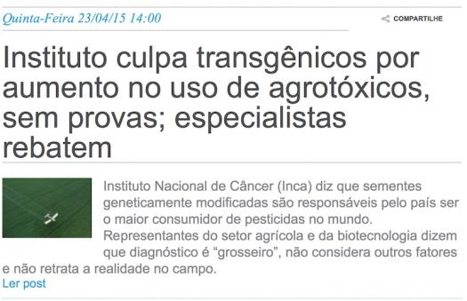 Instituto culpa transgênicos por aumento no uso de agrotóxicos, sem provas
